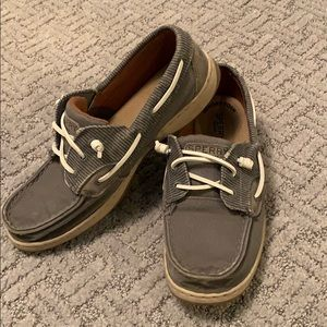 Grey Sperry Topsider Boat Shoes
